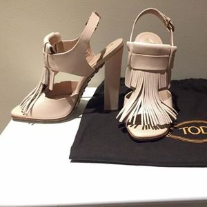 Tod's Fringed Leather Heels 35